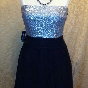 Express Strapless Sequin Chiffon Dress Sz.12 NWT